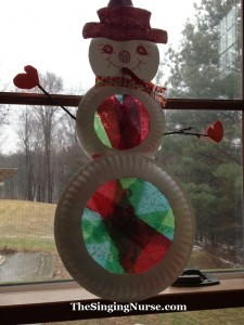 stained glass tissue snowman w words